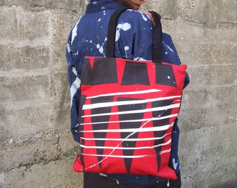 Red, White & Black Hand Printed Tote Bag