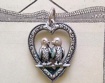 Silvertone enamel vintage lovebirds pendant