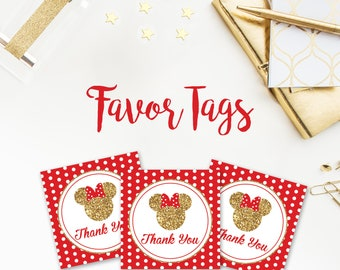 Minnie Mouse Favor Tags, Red, Gold, Glitter, Black, Polka Dots, Minnie Mouse, Birthday, Party, Printables, Favors, Tags, , Polka Dots,