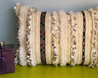 Vintage Handira Berber Cushion cover - Wool and sequins - handmade