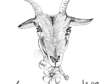 Life is better when you're eating goat illustrated print