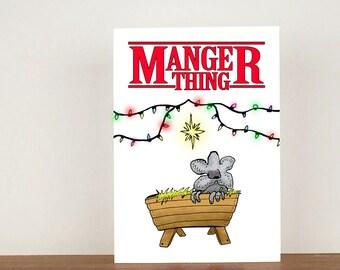 Manger thing christmas card. stranger things, card, greeting card, christmas card, chritsmas, blank card