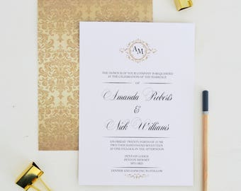 Gold wedding invitation gold, Golden wedding invitation set, Wedding invitations gold, traditional wedding invitations UK, A5