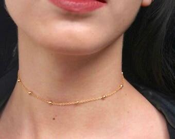 Gold Satellite Choker Necklace | Gold Choker, Gold Necklace, Gold Plated Choker, Gold Chain, Delicate Necklace, Dainty Choker