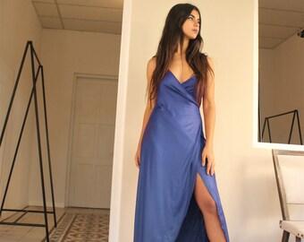 Cocktail Dress, Party Dress, Bridesmaid Dress, Royal Blue Dress, Slit Dress, Prom Dress,  Evening dress, Wrap Dress, Sexy Dress, Long Dress