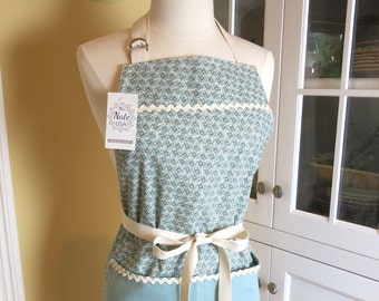 Pixie Blue Apron USA Made Apron, Cute Apron, Vintage Apron, Farm House Apron, Womens Apron, Chefs Apron