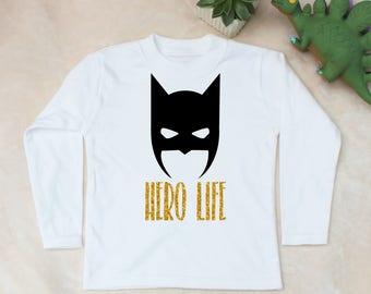 Hero Life Bat Mask Print White Long Sleeve Top T-Shirt