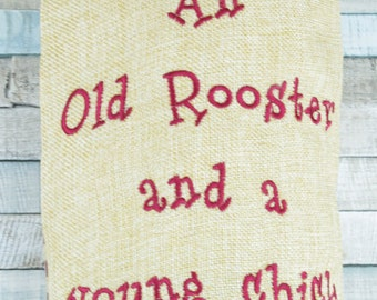 Carrier Bag Holder Bag For Life Hessian Old Rooster Young Chick Live Here Kitchen Utility Room MC5164B