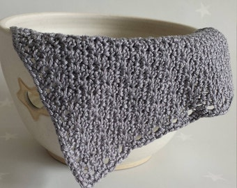 Grey cotton face cloth, pure cotton crochet wash cloth, vegan facecloth, 100% cotton crochet gray washcloth