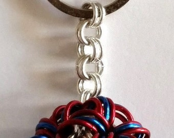 Chainmaille Ball Keyring, Red and Blue