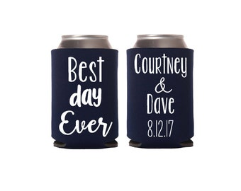 12+ Best Day Ever Wedding Can Coolers, Beverage Insulators, Personalized Wedding Favors, Custom Can Holders, Beer Bottle Insulator