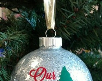 "4"" Personalized Our First Christmas Ornament, First Christmas Ornament, Couples Ornament, Glass Ornament, Personalized Ornament"