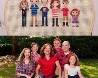 Stitch Family - Cross Stitch Family - Custom Family Portrait - Personalized Family Portrait - Wedding Gift - Alternative Family Portrait