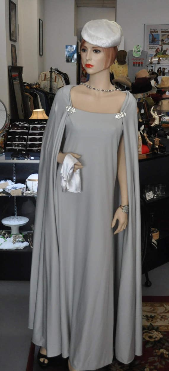 Vintage 1960s Rona of New York Long Grey Evening Gown and Attachable Cape