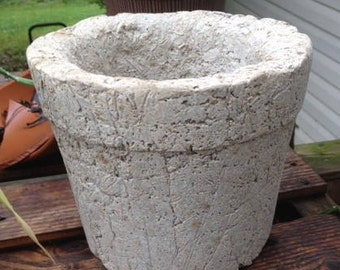 Small Collared Hypertufa Garden Flower Planter/Pot