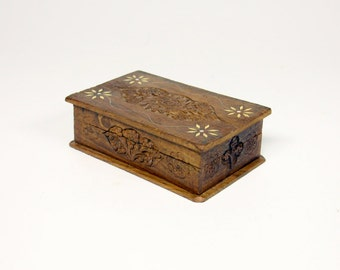 Vintage carved wood inlaid box from India-wooden box