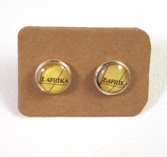World map ear studs - Africa variations