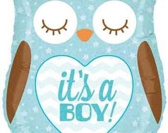 "Baby Boy Owl Balloon- 26"" Foil Balloon- Its a Boy Balloon- Baby Shower Decorations- Baby Balloon"