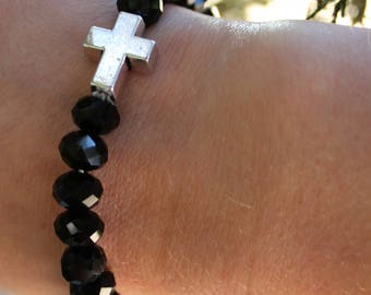 Black Hand Beaded Crystal Bracelet with Silver Cross Accent