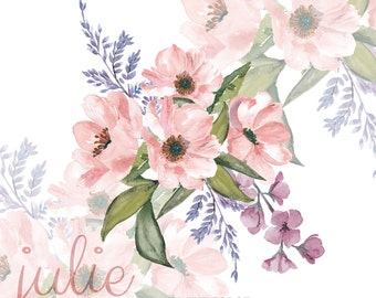 BLUSH PINK Watercolor Flower Clipart  Blush Floral Arrangement Clipart Hand Painted Bouquet Wedding Diy Invitation PNG Files Commercial Use