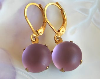 Vintage frosted light lavender round  glass earings