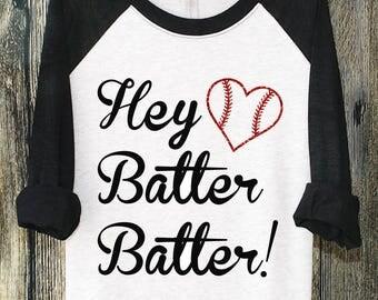 Hey Batter Batter, Baseball Shirt, Baseball Mom Shirt, Baseball Mom Shirts, Softball Shirts, Custom Baseball Shirt, Unisex Shirts, Gifts