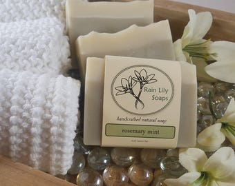 Rosemary Mint Soap, Natural Soap, Handcrafted Soap, Natural Bar Soap, Vegan Soap, Essential Oil Soap