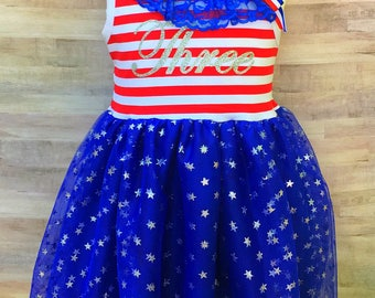4th of July Tutu Dress / Fourth of July Birthday Outfit / Red White and Blue Girl Dress / Patriotic Tutu Dress / Stars and Stripes Baby