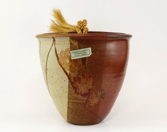 Wishon Harrell Pottery Hanging Planter - 1980s Vintage - Hand thrown in Muncie IN - in EX/NM cond