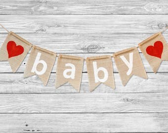 Burlap Baby Shower Banner - Baby Shower Gift - Burlap Baby Shower Decorations - Baby Bunting - Baby Garland - Baby Banner