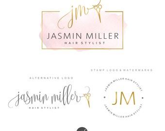 Hair Salon Logo design, Scissors Logo package, Hairdresser Logo kit, Initials logo, Fashion Branding set, Custom package, Stylist Logo, 91