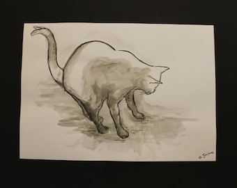 Cat ink drawing, black and white watercolour cat drawing