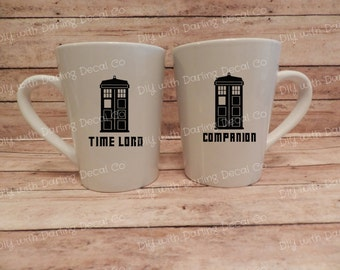 Time Lord Companion Adhesive Decals Doctor Who Couples Mug Wine Tumbler DIY Tardis Set Best Friends Partners Do it yourself Decal Love D115