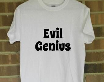 Evil Genius Iron On Decal DIY Shirt Tee T Do It Yourself Hoodie Smart Nerd Villian Tank Top Sleepshirt Raglan Pullover Sweatshirt Tunic