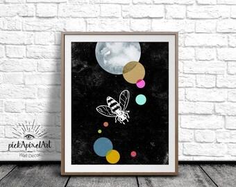 Bee Poster, Bug Illustration, Insect Wall Art, Black and White, Bee Art Print, Color Print, Digital Art Print, Printable Art