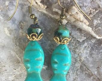 Pisces Stone Fish Earrings