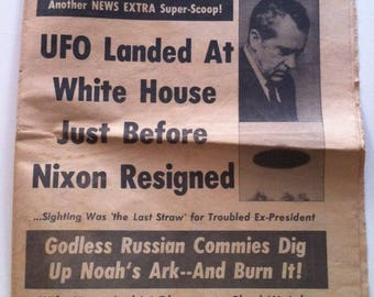 1974 Newspaper UFO Landing at White House