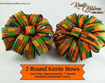 """SET OF 2 Kente Round Bows - Each 7"""" Round - Made from WIRED 1-3/8"""" Kente Style Ribbon - Attachment wires on back - No Tails"""