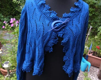 Cardigan blue, very far, Gr. 44-46 (M-L), poncho with arms