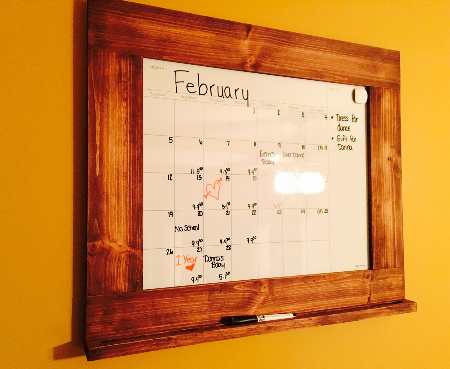 Dry Erase Calendar Wood Framed Dry Erase Board Framed