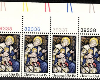 1980 Stained Glass Christmas Postage Stamps Unused Block