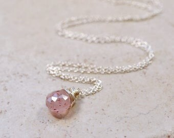 Tiny Pink Rutilated Quartz Necklace,  Earthy Mineral Specimen Rock Quartz Pendant, Geology Botanical Sterling Silver