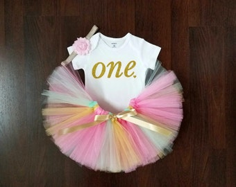 Baby Girl First Birthday - Pink, Gold and Mint Tutu
