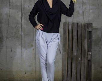 Elegant Pale Grey Trousers   Long Grey Trousers   Buttoned Work Pants with Pockets by Silvia Monetti