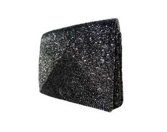 WALBORG Hand Beaded Sparkley Gunmetal/Silver Vintage Clutch/ Evening Bag