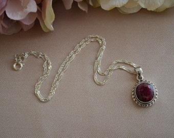 Sterling Silver Necklace with Ruby Gemstone