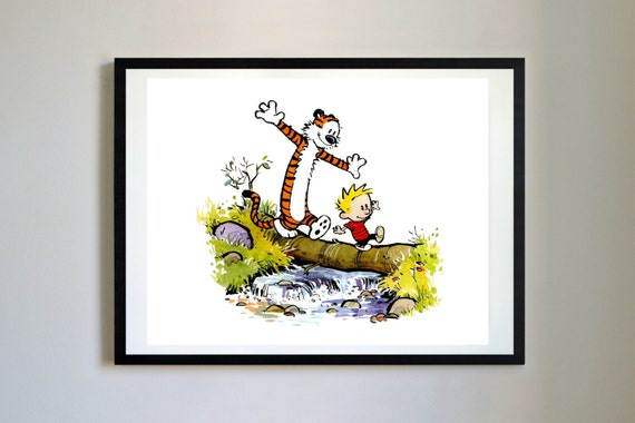 Calvin and hobbes 3 balance log nursery art print decor for Calvin and hobbes nursery mural