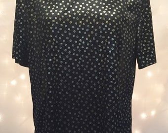Retro Black Party Blouse with Metallic Gold Pattern Print - Semi Sheer with Short Sleeves