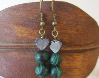 Black Hematite Heart and Green Malachite Drop Earrings