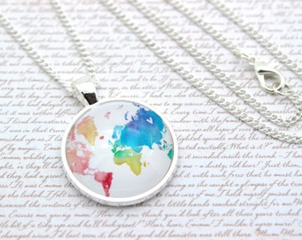 Rainbow World Map Necklace, Travel Necklace or Keychain, Keyring